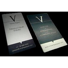 Cartão de visitas em alumínio impresso em 2 cores - Frente e verso