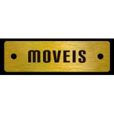 Etiqueta de Móveis 31 latão gravado em baixo relevo com 1 cor e furos