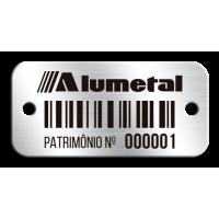 Etiqueta de patrimônio - 37x18mm - código de barras - com furos e fita