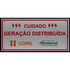 Placa de identificação Cuidado Geração Distribuída Copel