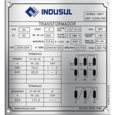 Placas de Transformadores 6 - em aço inox 304 gravado em baixo relevo